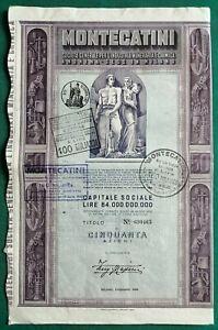 Certificato azionario Società Montecatini (Milano), titolo da 50 azioni - 1953
