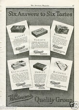 1923 Print Ad Whitman's Quality Group Chocolate Sampler Nuts & Library Package