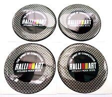 4x Ralliart Mitsubishi Carbon Fiber Badge Wheel Cap Emblem Decal Sticker 60 mm