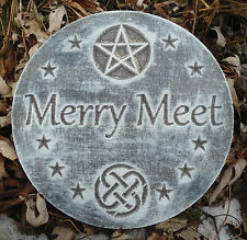 "Gostatue mold plastic ""Merry meet"" plaque mold  garden plaque / stepping stone"