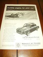 1957 RENAULT DAUPHINE / JET TURBINE SHOOTING STAR RACE CAR ***ORIGINAL AD***