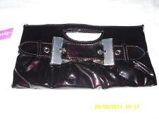 FAB NEW DARK BROWN PATENT INTEGRAL HANDLE CLUTCH BAG