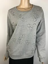 Joie Soft Sweat Shirt NWT $168 Sz M L/S Grey w White & Clear Beads Cotton Blend