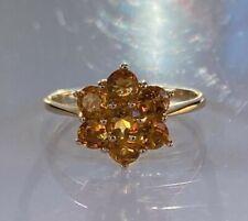 BEAUTIFUL STUNNING LARGE 9CT GOLD DIAMOND YELLOW / ORANGE SAPPHIRE RING