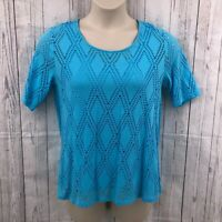 Dana Buchman Womens Blouse Top Turquoise Medium SS Lace Double Layer Hi Low Hem