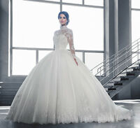 Luxury High Neck Lace Ball Gown Long Sleeve Wedding Dress Bridal Dresses 2017