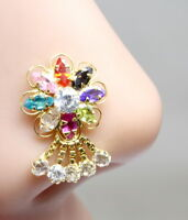 Bridal Real Gold Nose Stud 14K Yellow Gold Dangle Piercing Push Pin nose ring