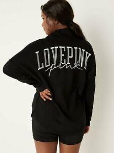 Victoria's Secret PINK Varsity 11.5 Zip Sweatshirt Black  (XL) VS Oversized NWT