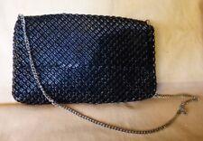 Vintage 1970s Whiting & Davis Mesh Shoulder/Clutch Bag Black Bugle Beads U.S.A.
