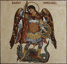 Blessed Saint Micheal The Archangel Figure Marble Mosaic FG1057