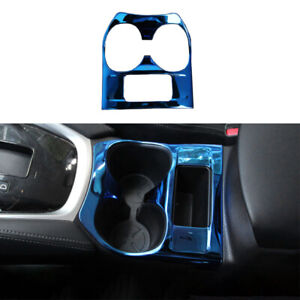 For Nissan Rogue 2017-2020 Blue Steel Middle Console Drinking Glass Trim 1pcs