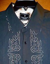 MARK ECKO - BLACK PAISLEY *CUT-OUT* PATTERNED SHIRT w/CONTRAST CUFFS - MENS L