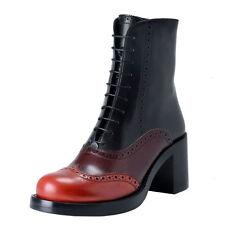 Miu Miu Women's Multi-Color Leather Lace Up Ankle Boots Shoes US 10 IT 40