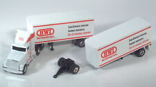 "Ertl White GMC Aero HWI Double Pup Semi Truck 14"" Diecast 1:64 Scale Model"