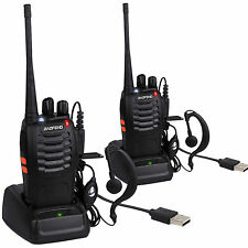 2Pcs Walkie Talkie Long Range 2 way Radio 16CH BF-888S UHF 400-470MHZ Earpiece