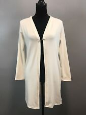 NWOT Korean Open Front Very Long White Cardigan Jacket Sweater One Size