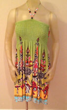 NWT Mesmera Lime Green / Coral BEADED HALTER DRESS Womens XL