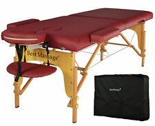 New BestMassage Burgundy PU Portable Massage Table w/Free Carry Case U1