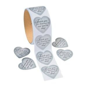 100 - Silver Heart Wedding Thank You Card Stickers - Envelope Seals Roll Favor