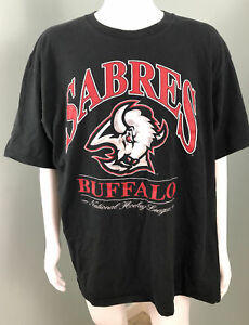 Vintage Buffalo Sabres Goat Head Men's Black Lee Sport S/S T Shirt Sz 2XL EUC