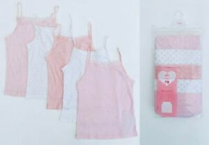 BNWT MOTHERCARE Girls Baby Pink White 5 Pack Cotton Summer Cami Strappy Vests
