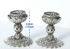 Petite Filigree Silver Flower Shabbat Candle Holders Sticks, Judaica Jewish Art