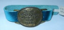 "LENNY & EVA Metallic Blue Leather Bronze Plate ""Think Big"" Bracelet 6.5"" NEW"