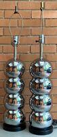 Vintage Chrome Mirrored Stacked Ball Lamps Mid Century Modern Kovacs Sonneman
