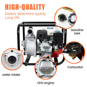 """Gas Powered Water Pump 158GPM Water Transfer High Pressure Irrigation 2"""" 6.5HP"""