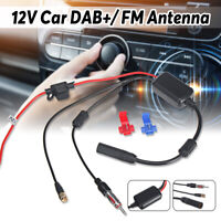 Universal DAB FM Car Antenna Aerial Splitter SMB Cable Digital Radio + Amplifier