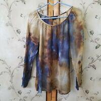 Karen Kane Women's Blouse/Top Sheer Long Sleeve Brown/Tan/Blue Size L