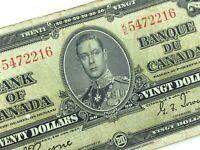 1937 Canada 20 Twenty Dollar Prefix KE Canadian Circulated Banknote L920