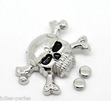 10 Sets Silver Tone Skull Crossbone Spike Rivet Studs Spots 4.4cmx2.9cm,7mm