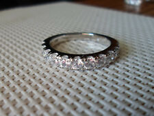 QVC Diamonique cz Sterling Silver/Platinum clad 11 Stone Band Ring-sz 7
