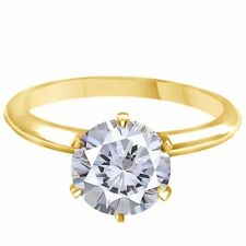 3.00 Ct Round Moissanite Solitaire Engagement Ring 9mm 14K Solid Yellow Gold
