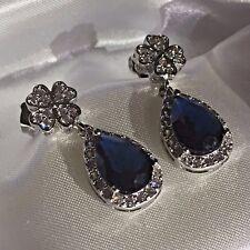 K16 Sim diamond 4 leaf clover & pear sapphire white gold gf earrings CRUISE boxd