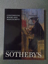 SOTHEBY'S AUCTIONEERS - CONTINENTAL BOOKS AND MANUSCRIPTS - MAY 2000