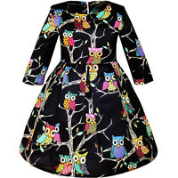 Girls Dress Fit-and-flare Owl Print Party Long Sleeve Cute Age 4-14 Years