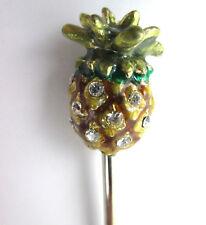 1 Elegant Pineapple Pic with Rhinestones Gold Green and Amber Bar Drink Garnish