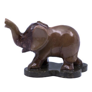 """Hand Carved Dark Brown Marble Stone Asian Elephant Figurine Carving 2.75"""" Long"""