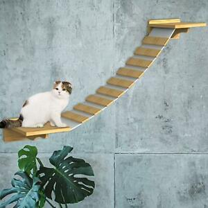 Wall Mounted Cat Climbing Ladder Wood Sisal Stairs Bridge Cat Sleeping Platform