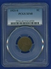 1921 S PCGS XF40 Lincoln Cent 1c Wheat Penny US Mint 1921-S PCGS XF-40