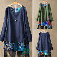 UK Women Cotton Linen Floral Patchwork Tunic Top Long Sleeve Casual Blouse Shirt