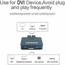 2-Port USB DVI Cable Kvm Switch with Cables No Power Adapter 2 in 1 Out Dual Dvi
