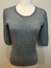 MARCS Light Grey Yellow Blue Polka Dot 3/4 Sleeve Keyhole Cotton Wool Jumper 10