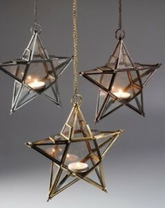 Hanging Star Eco Glass Lantern made from Recycled Glass and Iron