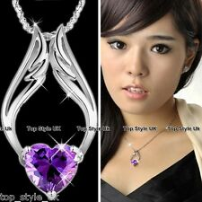 PURPLE AMETHYST ANGEL HEART & WINGS CRYSTAL NECKLACE PENDANT CUTE GIFT PRESENT