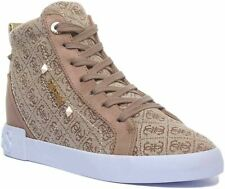 Guess Portly Lace up Casual Trainer EX DISPLAY In Beige UK Size 4