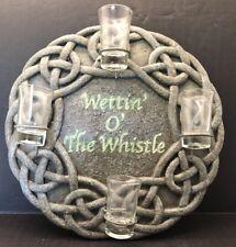 "Man Cave Bar Sign ""Wettin O' The Whistle"" Irish Shot Glass Holder Celtic Knot"