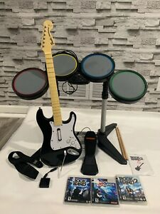 PS3 Rock Band Wired Drum Set, Wireless Guitar, 1 Dongle, Bundle TESTED 100%